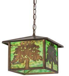 "12""Sq Oak Tree Lantern Pendant"
