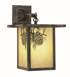 """9""""W Hyde Park Winter Pine Hanging Wall Sconce"""