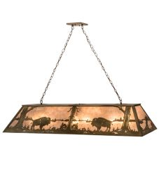 "61""L Buffalo At Lake Oblong Pendant"