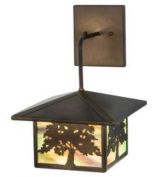 """10""""W Oak Tree Lantern Wall Sconce"""