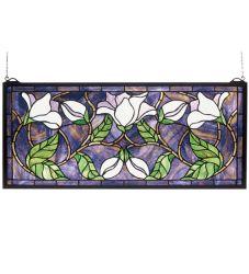 """25""""W X 11""""H Magnolia Stained Glass Window"""