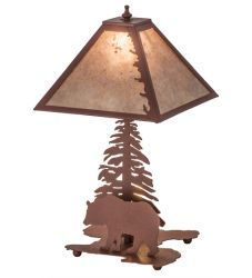 "21""H Leafs Edge W/Lighted Base Table Lamp"