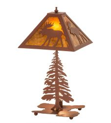 "21""H Lone Moose Tall Pines Table Lamp"