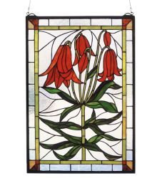 "16""W X 24""H Trumpet Lily Stained Glass Window"