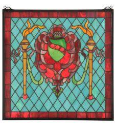 "20""W X 20""H Victorian Shield /Twin Torch Window"