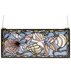 "24""W X 10""H Seashell Stained Glass Window"