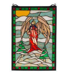 "12""W X 17""H Winter Angel Stained Glass Window"
