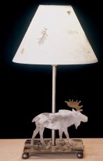 """9""""H Lone Moose Pressed Flower Shade Accent Lamp"""