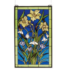 """15""""W X 25""""H Spring Bouquet Stained Glass Window"""