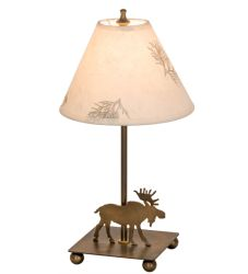 """15""""H Pressed Foliage Lone Moose Accent Lamp"""