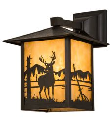 "9""Sq Seneca Deer At Lake Solid Mount Wall Sconce"
