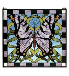 """25""""W X 23""""H Butterfly Stained Glass Window"""