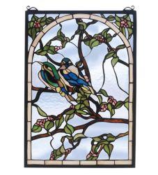 "14""W X 20""H Lovebirds Stained Glass Window"