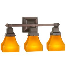 "20""W Bungalow Frosted Amber 3 LT Vanity Light"