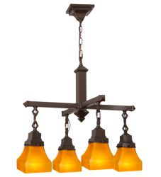 """26""""W Bungalow Frosted Amber 4 Lt Chandelier"""