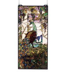 """19""""W X 40""""H Tiffany Peacock Wisteria Stained Glass Window"""