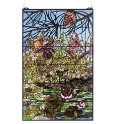 """30""""W X 48""""H Woodland Lilypond Stained Glass Window"""