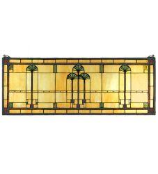 """35""""W X 13""""H Ginkgo Stained Glass Window"""
