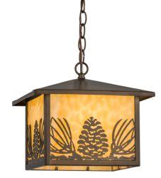 "11""Sq Mountain Pine Lantern Pendant"