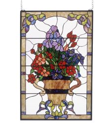 """24""""W X 36""""H Floral Arrangement Stained Glass Window"""