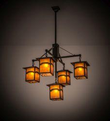 "37""W Seneca Mountain View 5 Lt Hanging Lantern Chandelier"
