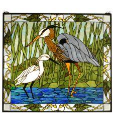 "30""W X 27""H Blue Heron & Snowy Egret Stained Glass Window"