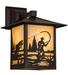 """9""""Sq Seneca Fly Fisherman Solid Mount Wall Sconce"""