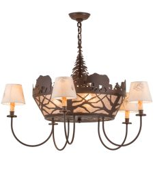 "36""W Bear on the Loose 5 LT Chandelier"
