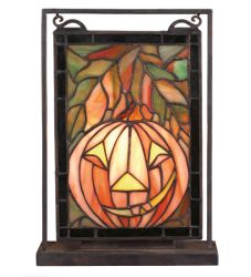 "9.5""W X 10.5""H Jack O'Lantern Lighted Mini Tabletop Window"
