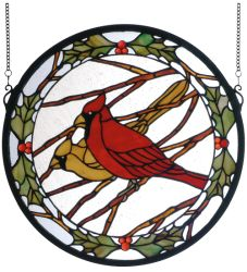 """15""""W X 15""""H Cardinals & Holly Medallion Stained Glass Window"""