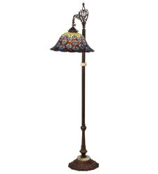"61""H Tiffany Peacock Feather Bridge Arm Floor Lamp"