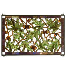 """28""""W X 18""""H Acorn & Oak Leaf Stained Glass Window"""