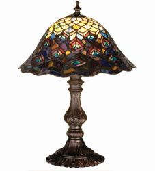 """16.5""""H Tiffany Peacock Feather Accent Lamp"""