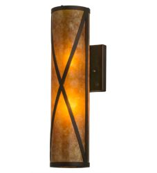 """5""""W Amber Mica Diamond Mission Wall Sconce"""