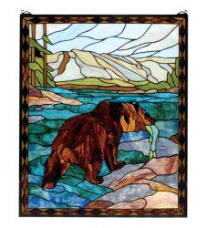 "25""W X 30""H Grizzly Bear Stained Glass Window"