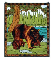 """25""""W X 30""""H Brown Bear Stained Glass Window"""