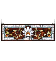 "28""W X 9""H Beveled Ellsinore Transom Stained Glass Window"