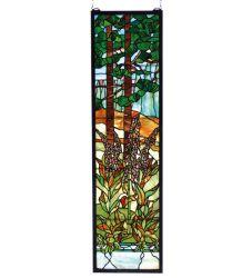 """12""""W X 44""""H Tiffany Foxgloves Stained Glass Window"""