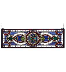 """35""""W X 11""""H Evelyn In Lapis Transom Stained Glass Window"""