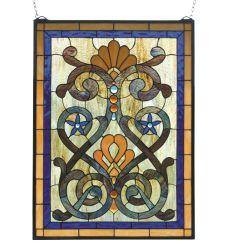 """20""""W X 27""""H Mandolin Stained Glass Window"""