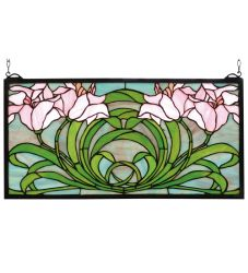 "22""W X 11""H Calla Lily Stained Glass Window"