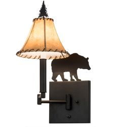 "8""W Black Bear Swing Arm Wall Sconce"