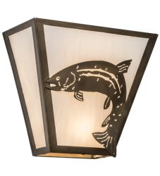 "13""W Leaping Trout Wall Sconce"