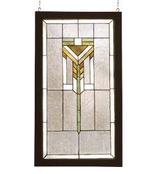 """17""""W X 30""""H Prairie Wood Frame Stained Glass Window"""