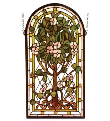 "15""W X 29""H Arched Tree Of Life Stained Glass Window"