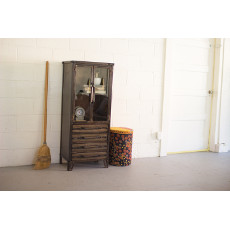 Metal Cabinet With Two Glass Doors And Four Drawers
