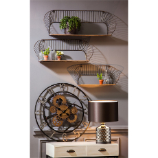 Metal and Wood Wall Shelves S/3