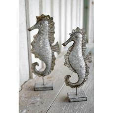 Set of 2 Galvanized Metal Seahorses