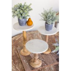 Wooden Display Stands With White Marble Tops Set of 3