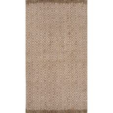Naturals Tribal Pattern Taupe/Ivory Jute Area Rug (9X12)